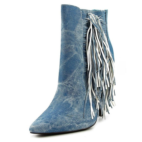 Luichiny Going Fast Women Pointed Toe Denim Blue Bootie