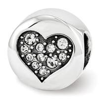 Sterling Silver Reflections Swarovski Elements Apr-Love Bead (4mm Diameter Hole)