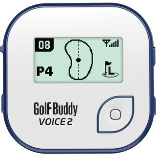 GolfBuddy Voice 2 Easy-to-Use Talking GPS/Rangefinder (White/Blue)