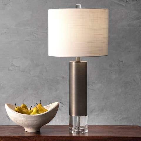 "nuLOOM 28"" Frank Modern Metal Linen Shade Table Lamp"