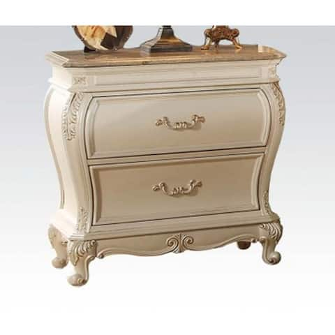 Chantelle Wood Nightstand with 2 Drawers&Queen Anne Leg in Pearl White