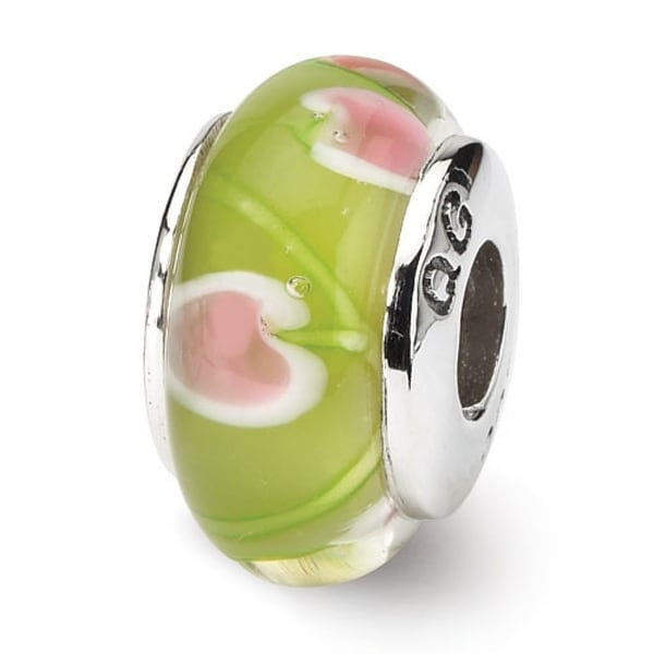 Sterling Silver Reflections Green/Pink Hand-blown Glass Bead (4mm Diameter Hole)