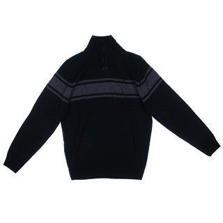 Weatherproof Mens Ribbed Trim Button Pullover Sweater - L