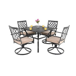 Link to Viewmont 5-piece Outdoor Dining Set with Large Table and 4 Swivel Chairs by Havenside Home Similar Items in Outdoor Dining Sets
