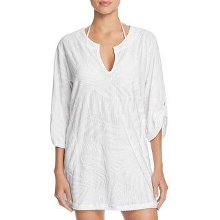 J. Valdi Womens Terry Cloth Split Neck Dress Swim Cover-Up