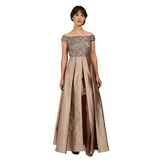 Adrianna Papell Women's Off Shoulder Over Skirt Gown