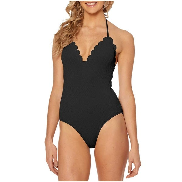 268a705fc20 Shop Jessica Simpson Womens Scalloped Edge Textured One Piece Swimsuit XL  Black - Free Shipping Today - Overstock - 20896406