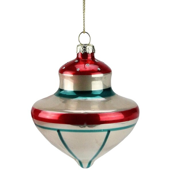 "3.5"" Retro Christmas Striped Onion Glass Christmas Ornament"
