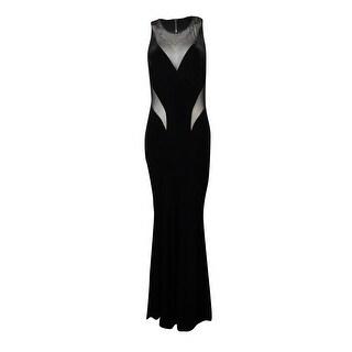 Betsy & Adam Women's Illusion Open-Back Velvet Gown - 4