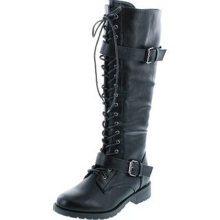 Link to Womens Knee High Boots Lace Up Combat Buckle Straps Low Heels Shoes - Black Similar Items in Women's Shoes