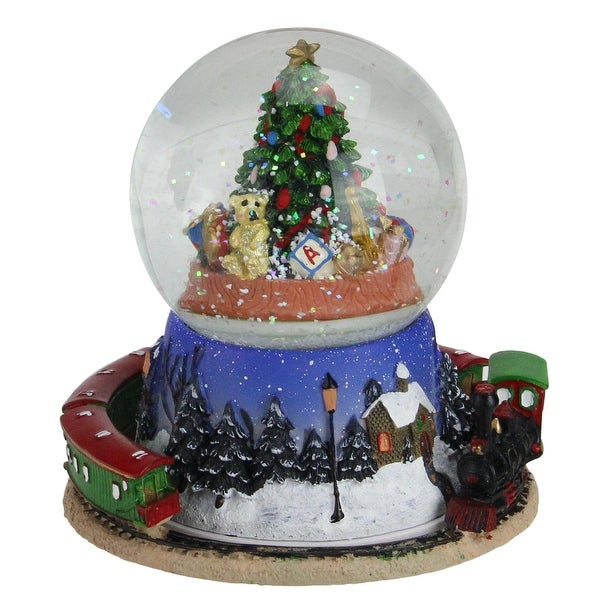 "6.5"" Christmas Tree and Train Revolving Musical Glitterdome Decoration"