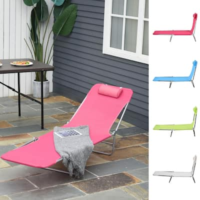 Outsunny Adjustable-Level Chaise Sun Lounge Chair for the Beach, Patio, or Deck w/ Folding Design & Sturdy Frame, Blue