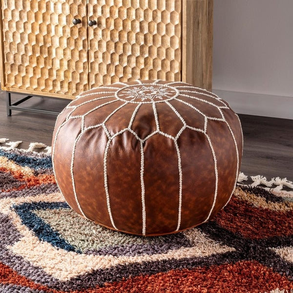nuLOOM Classic Moroccan Faux Leather Ottoman Pouf. Opens flyout.
