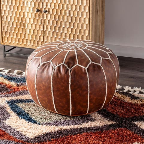 nuLOOM Classic Moroccan Faux Leather Ottoman Pouf