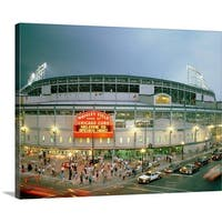 Premium Thick-Wrap Canvas entitled High angle view of tourists outside a baseball stadium opening night, Wrigley Field,
