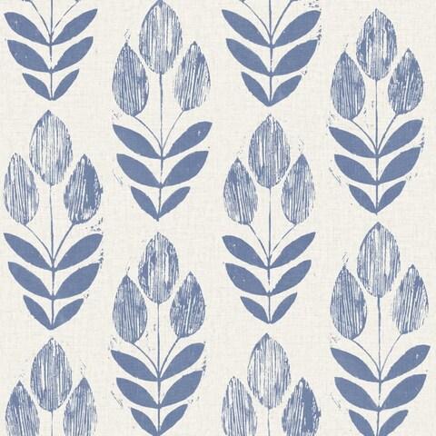 Brewster 2535-20652 Scandinavian Blue Block Print Tulip Wallpaper - N/A