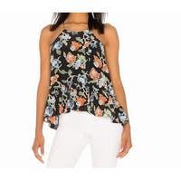 Joie Black Womens Size Medium M Halter Floral Ruffle Hem Top