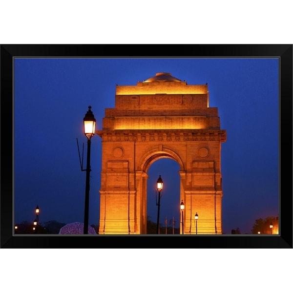 """India Gate, New Delhi, India"" Black Framed Print"