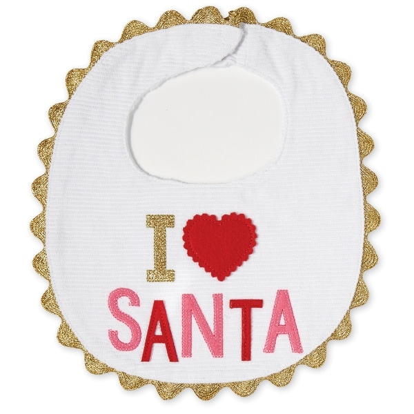 I Heart Santa Red and Pink Appliqued Baby Toddler Bib