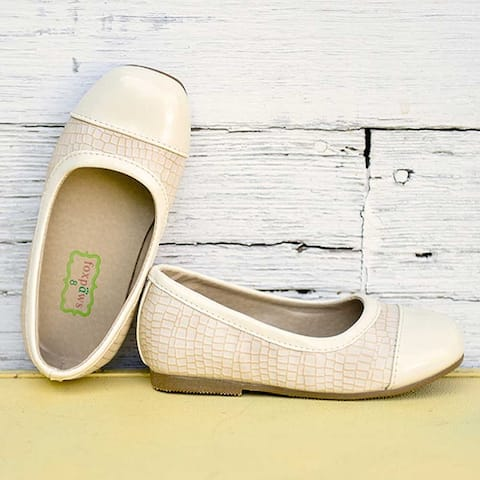 Foxpaws Beige Two Tone Textured Leather Tiptoes Shoes Toddler Girls 5-10