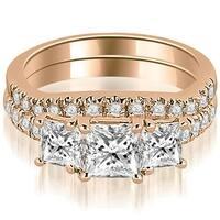 1.40 cttw. 14K Rose Gold Lucida Three-Stone Princess Cut Bridal Set