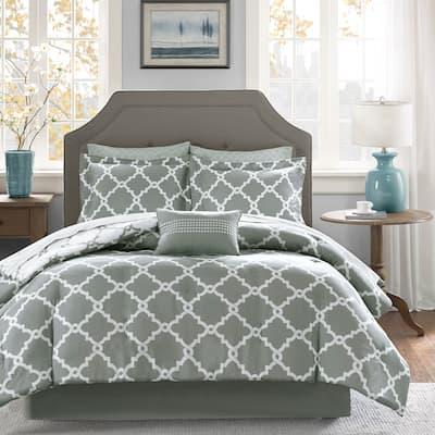Madison Park Essentials Almaden Grey Trellis Pattern Reversible Complete Comforter and Cotton Sheet Set