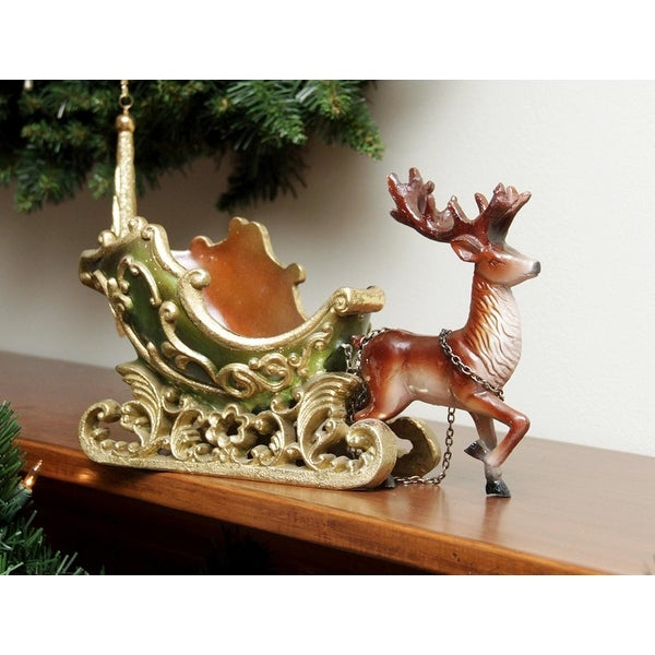 """7.5"""" Elegant Green and Gold Sleigh with Reindeer Christmas Table Top Decoration"""