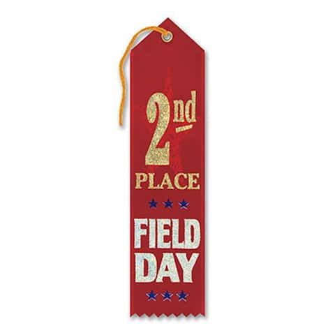 """Pack of 6 Red """"2nd Place Field Day Award"""" School Award Ribbon Bookmarks 8"""" - N/A"""