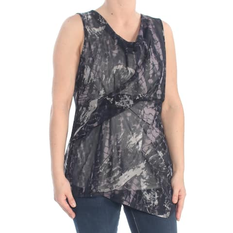 DKNY Womens Black Sheer Sleeveless Scoop Neck Wrap Evening Top Size: S