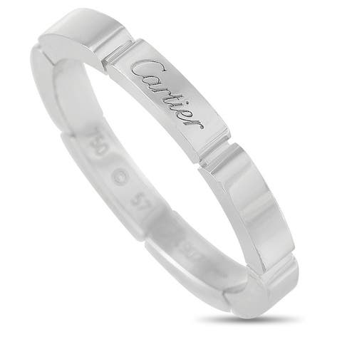 Cartier White Gold Band Ring Size 8