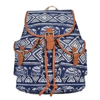 Hearty Trendy Girls Women Navy White Elephant Print Exterior Pockets Backpack