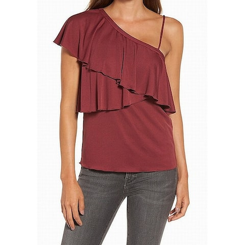 Chelsea28 Womens Large Ruffled One Shoulder Blouse