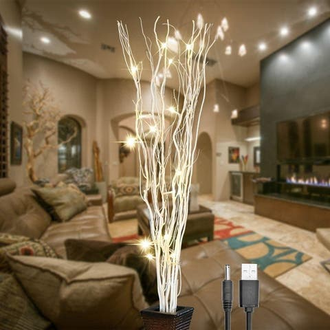 """36Inch 16LED Natural Willow Twig Lighted Branch for Home Decoration USB Plug-in and Battery Powered - White - 36"""""""