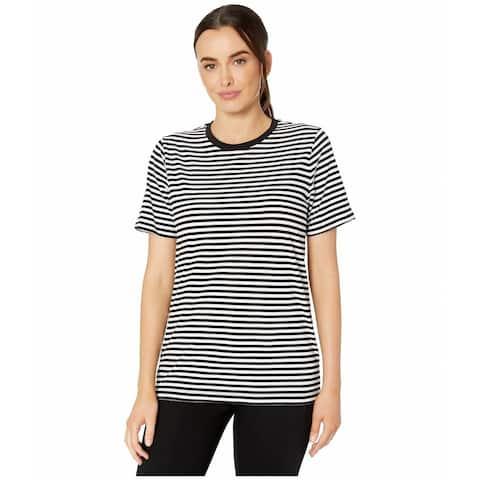 MICHAEL KORS Womens White Striped Short Sleeve Jewel Neck Top Size S