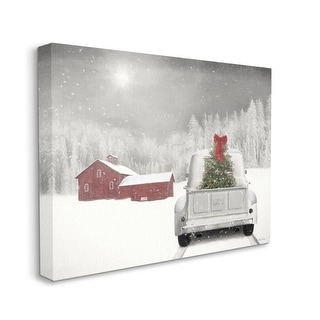 Link to Stupell Industries Christmas Tree at Twilight Snowy Holiday Scene Canvas Wall Art - Multi-Color Similar Items in Christmas Decorations