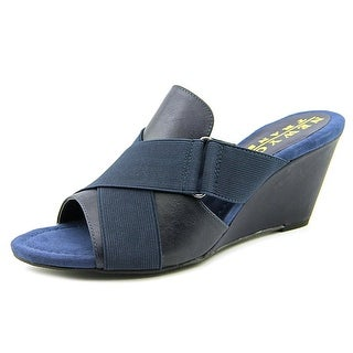 New York Transit Venture Forward Women Open-Toe Synthetic Blue Mules