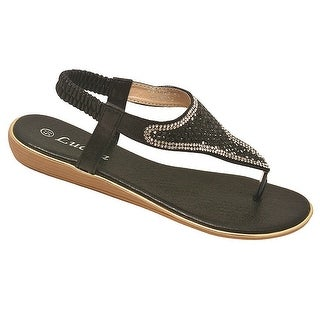 Lucita Adult Black Glitter Contrast Rhinestone Flip Flop Sandals