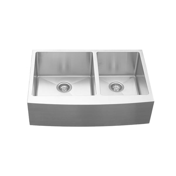 Karran Farmhouse Apron Front Stainless Steel 33 in. Double Bowl Sink