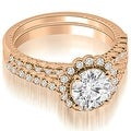 1.44 cttw. 14K Rose Gold Antique Halo Round Cut Diamond Bridal Set - Thumbnail 0