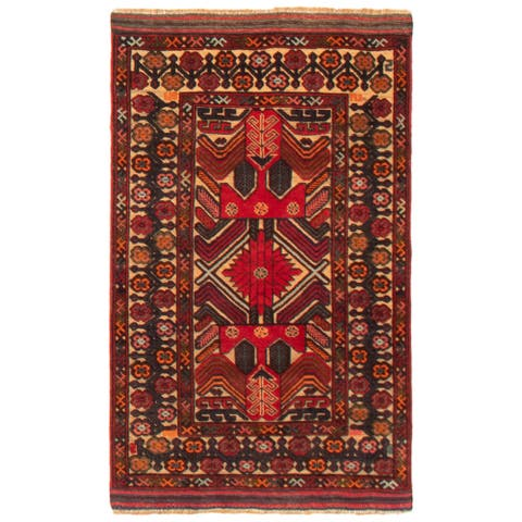 ECARPETGALLERY Hand-knotted Tajik Caucasian Dark Red Wool Rug - 2'9 x 4'7