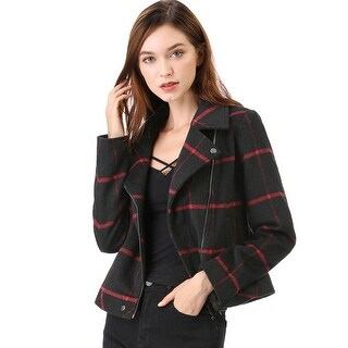 Women's Asymmetrical Zipper Plaid Moto Jacket - Red