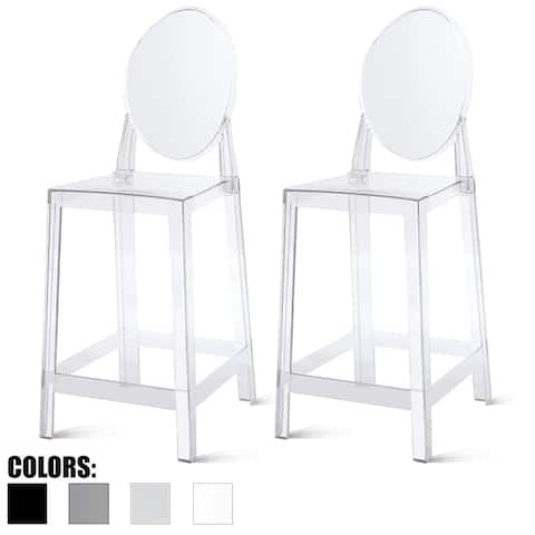"Set of 2 Modern 25"" Seat Counter Height Stool With Backs Plastic Molded High Chairs For Dining Patio Transparent Kitchen Crystal"