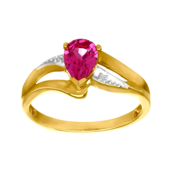 1 ct Ruby Ring with Diamond in 10K Gold - Red