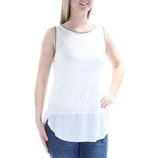 SANCTUARY Womens Ivory Beaded Sleeveless Jewel Neck Top  Size: M