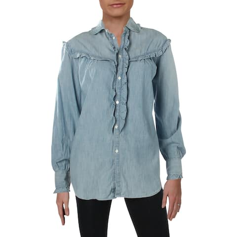 Polo Ralph Lauren Womens Adaln Casual Top Ruffled Button Front - M