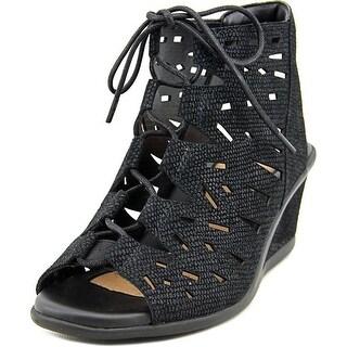 Earth Daylily Women Open Toe Leather Wedge Sandal
