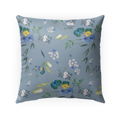 FLORAL BLUE Indoor-Outdoor Pillow By Anne Cote