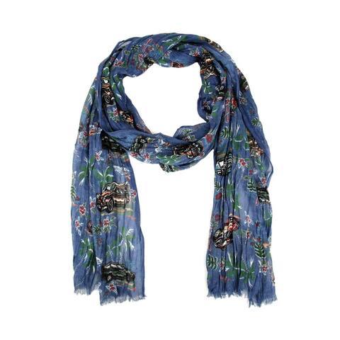 Saint Laurent Men's Blue Pleated Cashmere Silk Hawaiian Scarf 456836 9888 - One Size
