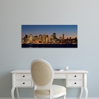 Easy Art Prints Panoramic Images's 'Buildings lit up at dusk, San Francisco, California, USA' Premium Canvas Art
