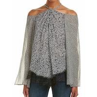Derek Lam 10 Crosby NEW Black Women's Size 6 Animal-Print Blouse Silk